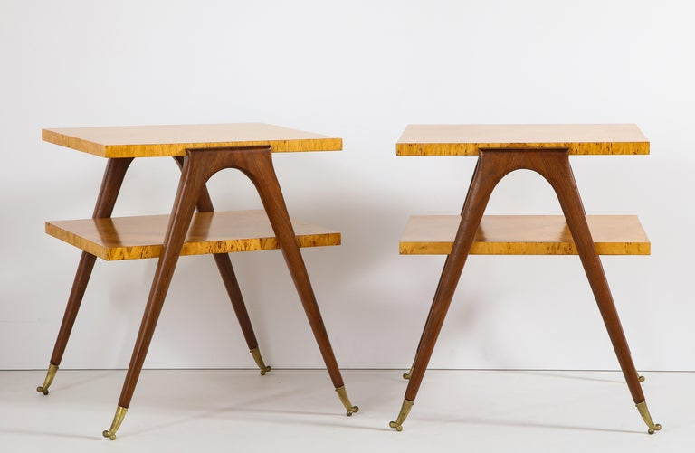 Italian Pair of Side Tables Attributed to Osvaldo Borsani For Sale