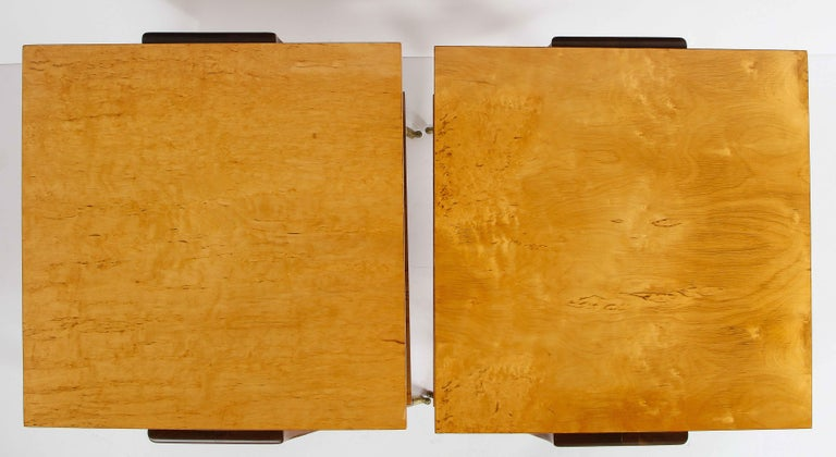 Mahogany Pair of Side Tables Attributed to Osvaldo Borsani For Sale