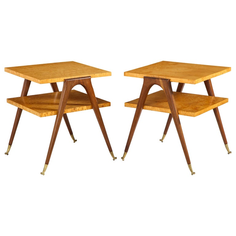 Pair of Side Tables Attributed to Osvaldo Borsani For Sale