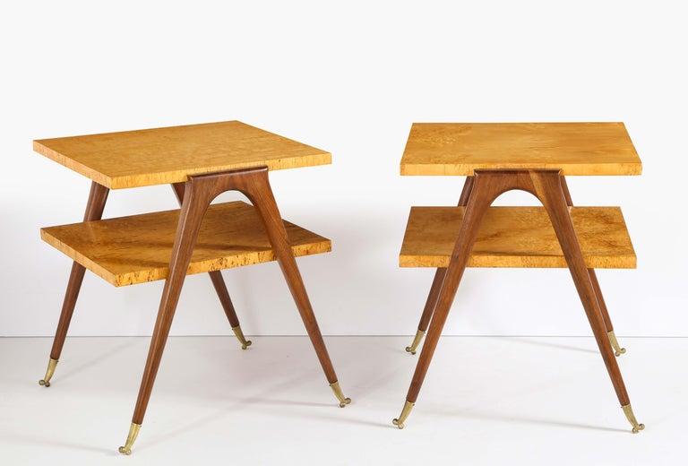 2-tiered tables attributed to Osvaldo Borsani, burl wood, mahogany and brass.