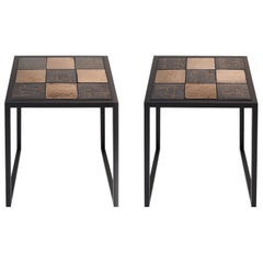 Pair of Side Tables Black Metal Frame and Ceramic Tops by Dalo