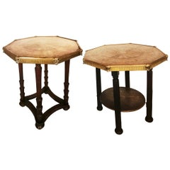 Pair of Side Tables Brass and Wood, 19th Century