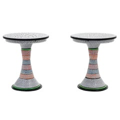 Pair of Side Tables by Amy Kline, One of a Kind, Porcelain Signed and Dated