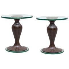 Pair of Side Tables by Osvaldo Borsani, Walnut, Brass, Italy, 1950