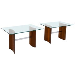Pair of Side Tables by Vladimir Kagan, Walnut, Chrome, and Glass