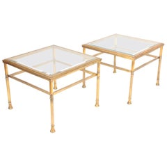 Pair of Side Tables in Brass and Glass, 1970s