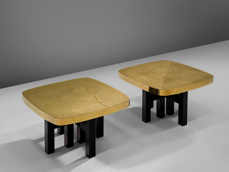 Jean Claude Dresse, pair of side tables, brass and steel, Belgium, 1970s
