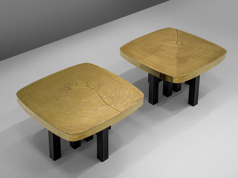 Belgian Pair of Side Tables in Brass by Jean Claude Dresse For Sale