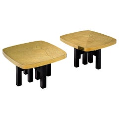 Rare Pair of Jean Claude Dresse Side Tables in Etched Brass.