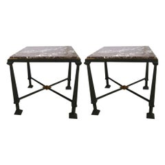 Pair of Side Tables in Bronze, Gilt Bronze and Marble