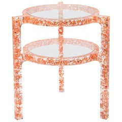 Pair of Side Tables in Copper Colored Silver Leaf & Resin by Jake Phipps