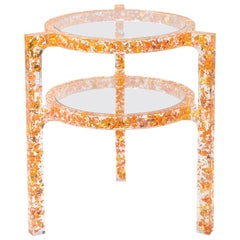 Pair of Side Tables in Copper & Gold Colored Silver Leaf & Resin by Jake Phipps