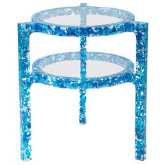Pair of Side Tables in Electric Blue Colored Silver Leaf & Resin by Jake Phipps