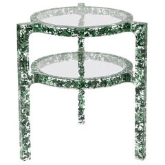 Pair of Side Tables in Forest Green Colored Silver Leaf & Resin by Jake Phipps