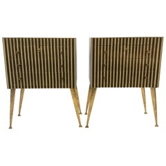 Pair of Side Tables in Glass and Brass, Italy, 1960s