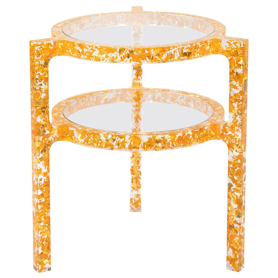 Pair of Side Tables in Gold Colored Silver Leaf & Resin by Jake Phipps
