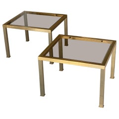 Pair of Side Tables in Guilt Metal, with Smoked Glass Top, France, 1970
