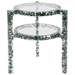 Pair of Side Tables in Gunmetal Grey Colored Silver Leaf & Resin by Jake Phipps