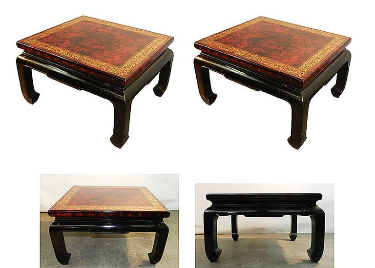 Chinoiserie Pair of side tables in lacquered wood, circa 1930 For Sale