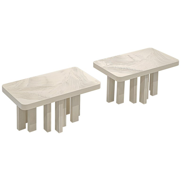 Side Tables In Sculpted Off White Resin