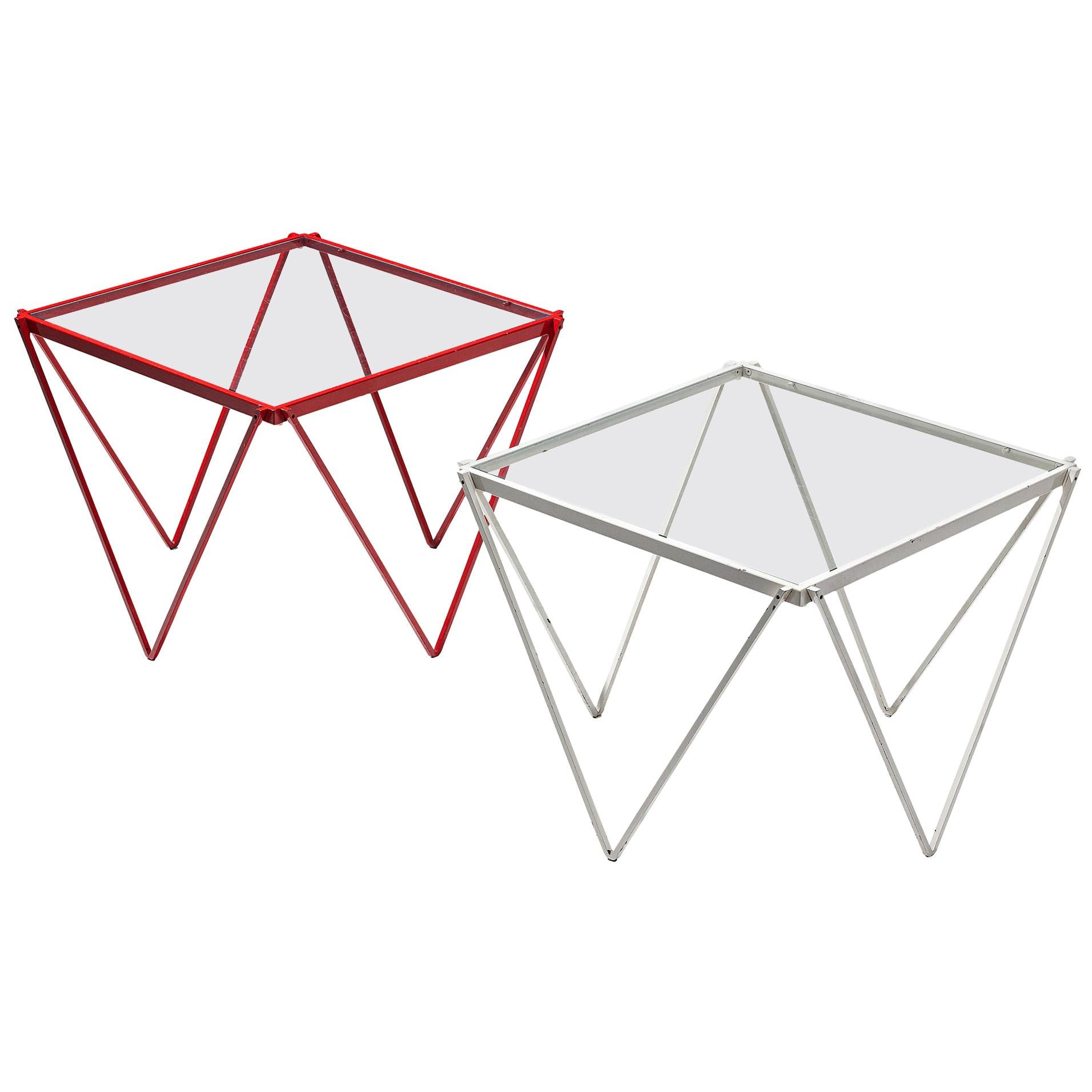 Pair of Side Tables in Red and White Metal with Glass