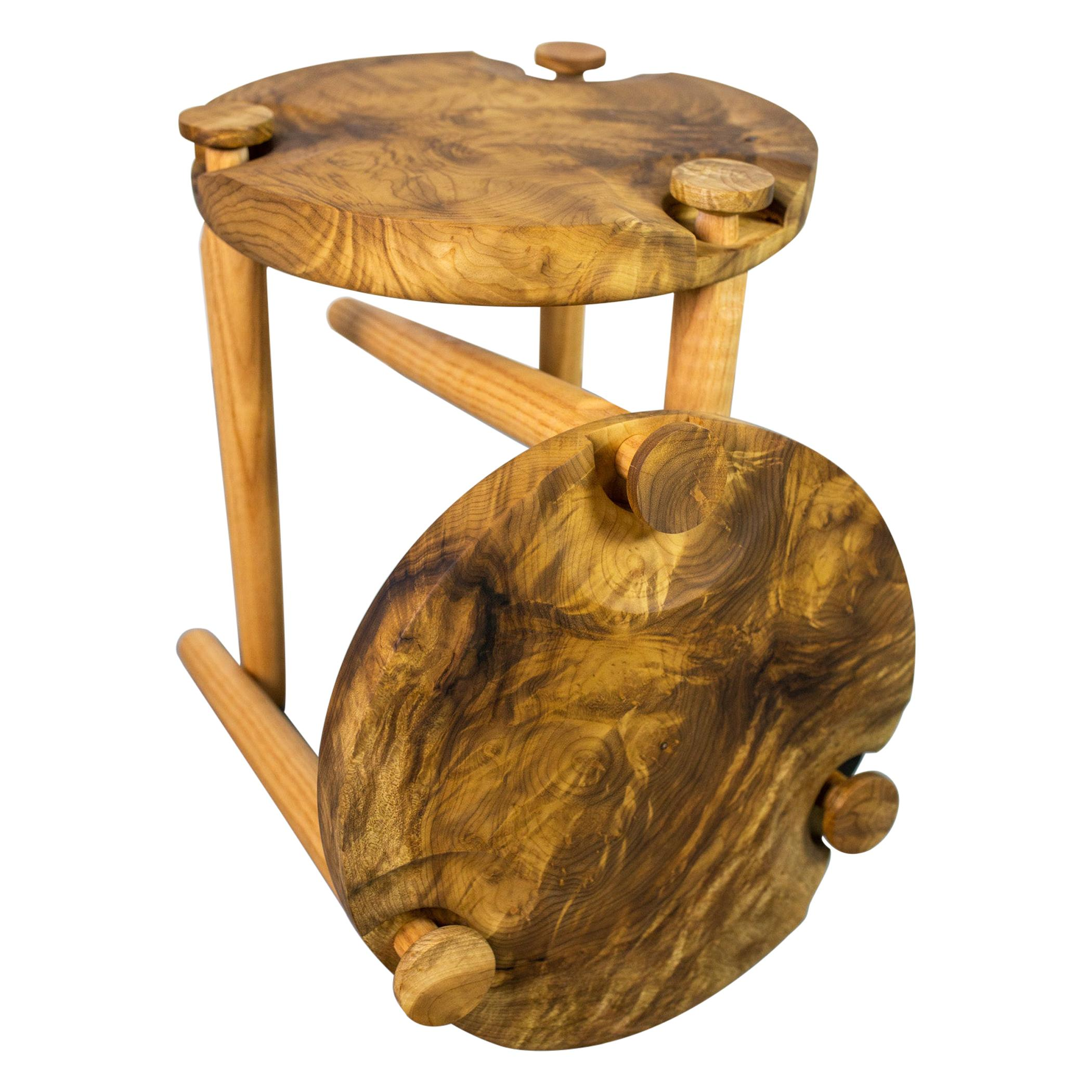 Pair of Side Tables in White Oak Burl Top by Michael Rozell in US, 2020