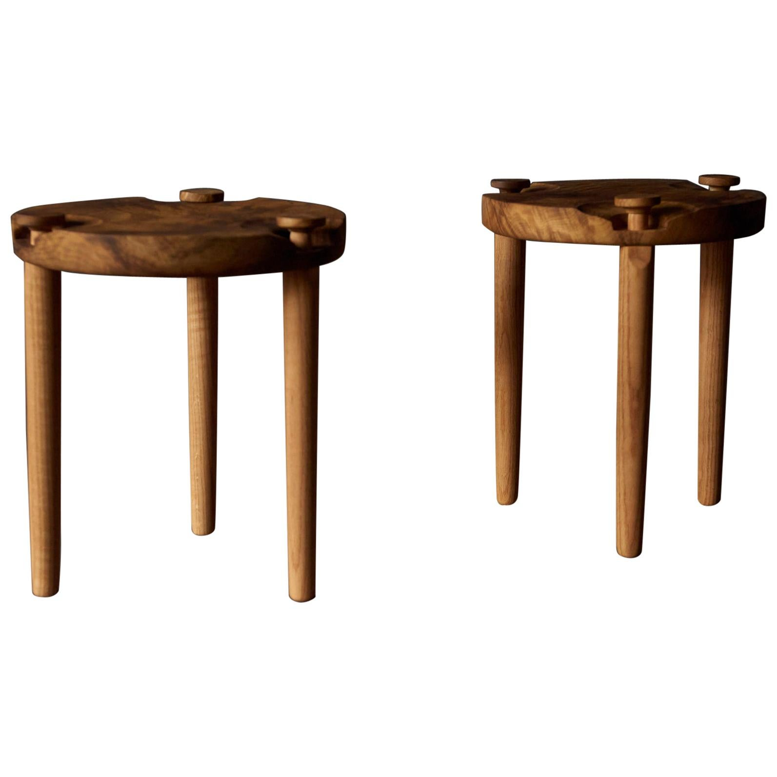 Pair of Side Tables in White Oak Burl Top by Michael Rozell, USA, 2020
