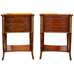 Pair of Side Tables Inlaid Mahogany Drexel Heritage Bedside Chest of Drawers