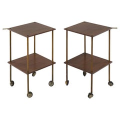 Pair of Side Tables Model T9 in wood and brass by Luigi Caccia Dominioni, 1950s