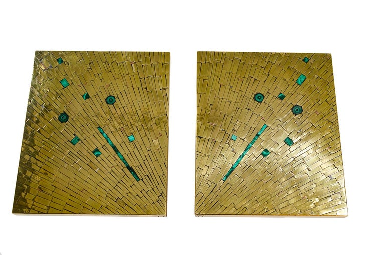 One of a kind studio built pair of side table in mosaic brass with inlaid malachite by Stan Usel. Left and right. Exceptional craftsmanship. All pieces can be custom-made to order. Signed by the artist. Pair of side table in brass mosaic inlay