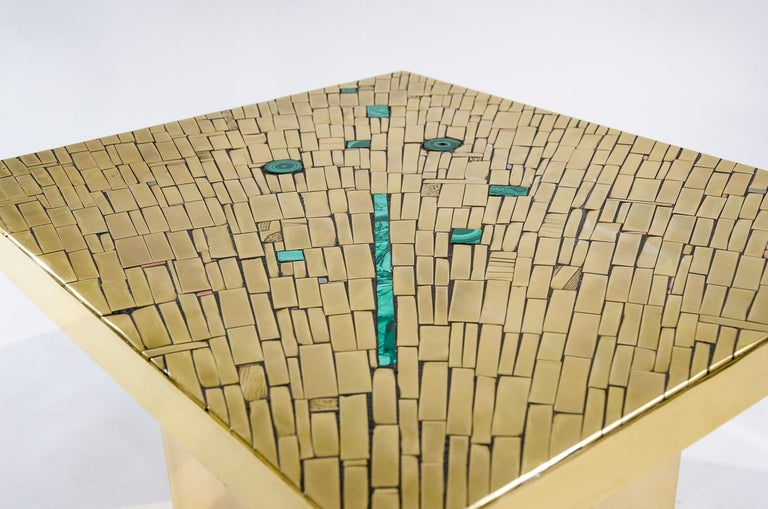 Mid-Century Modern Pair of Side Tables Mosaic Brass and Malachite by Stan Usel For Sale