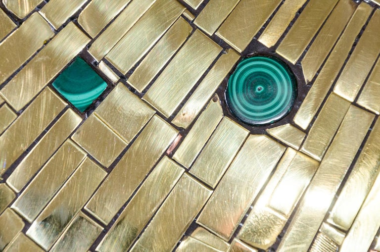 Pair of Side Tables Mosaic Brass and Malachite by Stan Usel For Sale 2