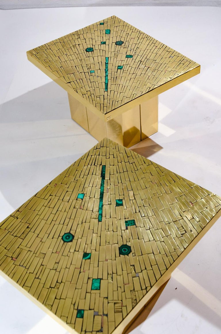 Pair of Side Tables Mosaic Brass and Malachite by Stan Usel For Sale 3