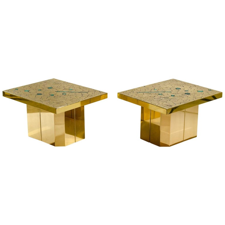 Pair of Side Tables Mosaic Brass and Malachite by Stan Usel For Sale