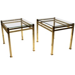 Pair of Side Tables of Brass with Plate of Glass of Italian Design, 1960s