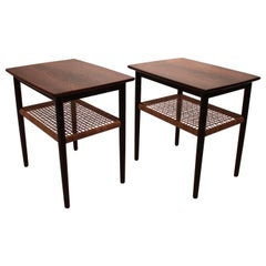 Pair of Side Tables of Rosewood with Papercord Shelf of Danish Design, 1960s