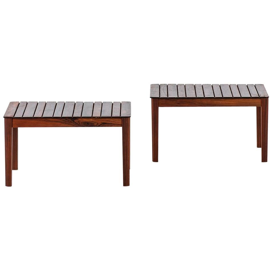 Pair of Side Tables or Benches in Solid Rosewood by Alberts in Sweden