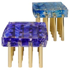 Pair of Side Tables or Nesting Tables in Resin and Brass