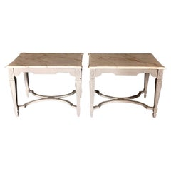 Pair of Side Tables or Nightstands with Beveled Carrera Top