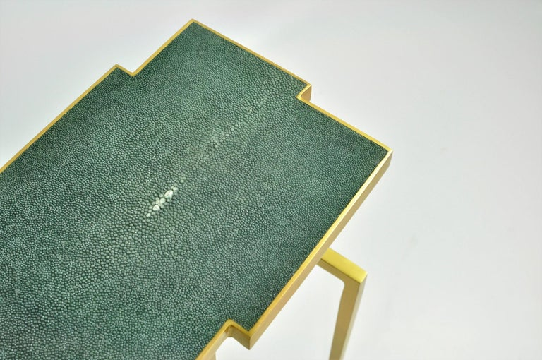 French Pair of Side Tables PIXEL in Shagreen and Brass by Ginger Brown For Sale