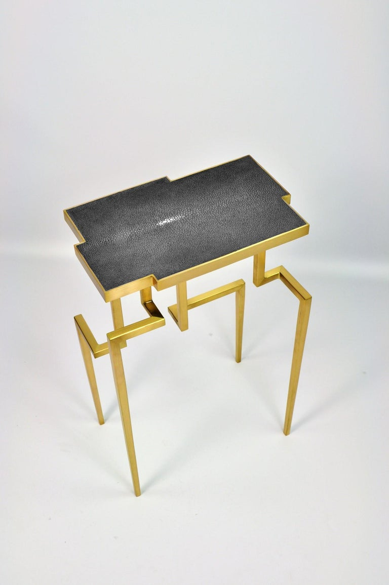 Brushed Pair of Side Tables PIXEL in Shagreen and Brass by Ginger Brown For Sale