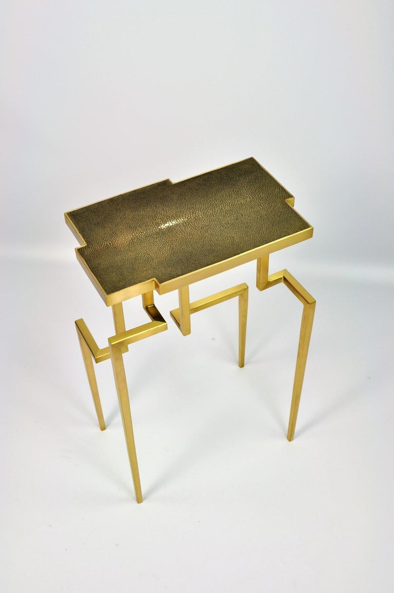 Contemporary Pair of Side Tables PIXEL in Shagreen and Brass by Ginger Brown For Sale