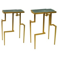 Pair of Side Tables PIXEL in Shagreen and Brass by Ginger Brown