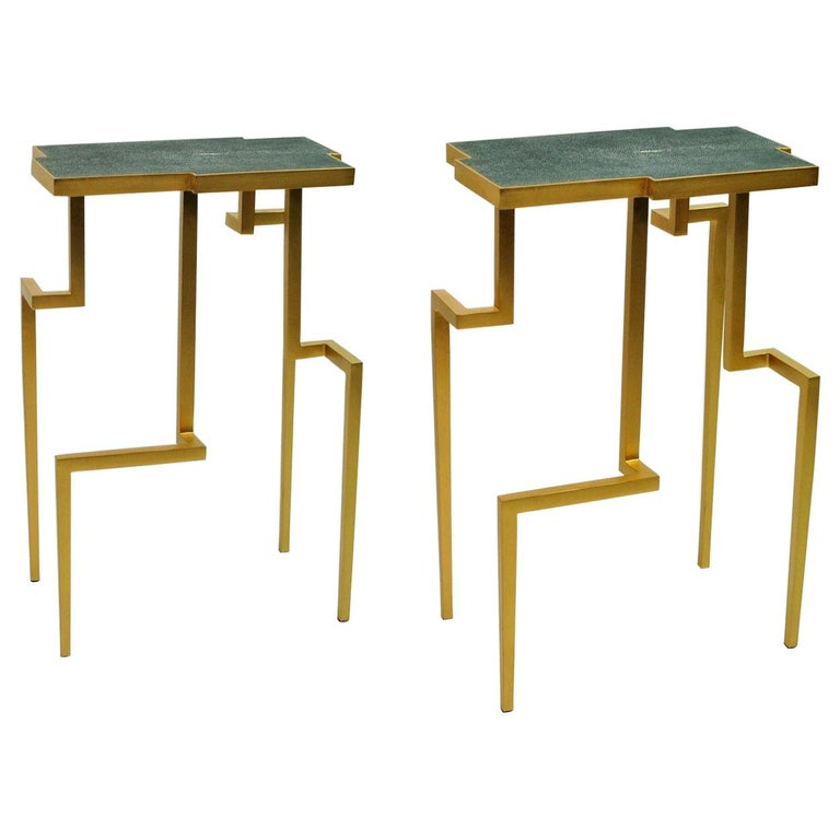Pair of Side Tables PIXEL in Shagreen and Brass by Ginger Brown For Sale