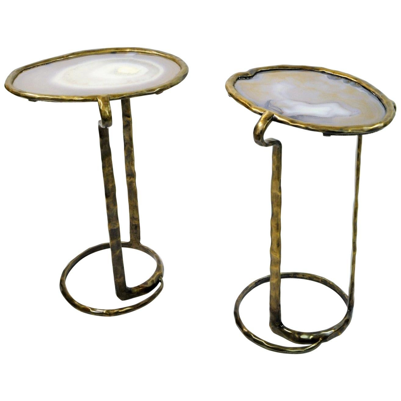 Pair of Side Tables SERPENT in Brass and Agate by Ginger Brown