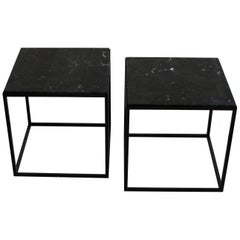 Pair of Side Tables with Black Marble Top