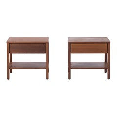 Pair of Side Tables with Drawer or Nightstands in Walnut by Florence Knoll