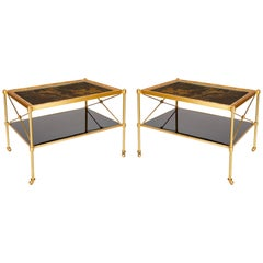Pair of Side Tables with Giltwood Framed, Hand Painted, Lacquered Panel Tops