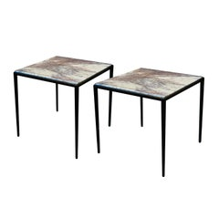 "Pair of Side Tables with Lavender / Gray Marble and ""Bronze"" Bases"