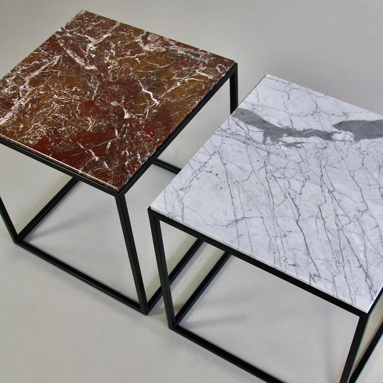 Pair of side table with marble top (brown and light grey), Germany, 2017.